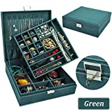 QBeel Jewelry Box for Women, Double Layer 36 Compartments Necklace Jewelry Organizer with Lock Jewelry Holder for...