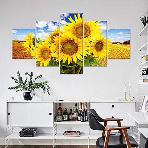 Afdrukken Op Canvas Kunstdruk Op Canvas Hd-Afbeeldingen Frameloze Zonnebloem Landschap Schilderij Huis Wanddecoratie Schilderij Canvas Kunst Schilderij