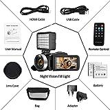 Camcorder Videokamera 2.7K Full HD Camcorder 30 FPS 24MP WiFi-Camcorder mit IR-Nachtsicht-Videokamera mit Mikrofon und Gegenlichtblende