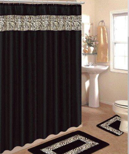 Black shower curtain with zebra print design