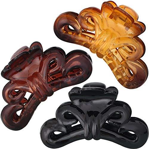 Lot de 3 pinces à cheveux de grande couleur unie et solide pour cheveux épais pour le bain, le nettoyage, la cuisine