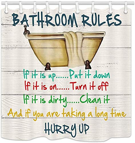 Cute Kids Stall Shower Curtains, Vintage Bathtub with Motivational Inspirational Funny Quotes Bathroom Rule on Rustic Wooden Fabric Shower Curtain,Education Bathroom Accessory Sets,36X72 inch