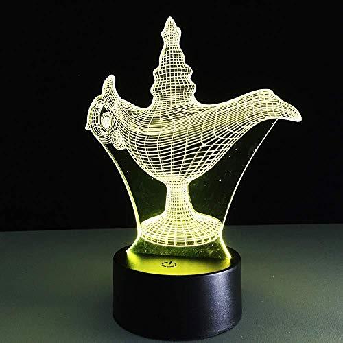 Luz Nocturna 3D Cuento De Hadas De Alta Calidad Aladdin Lámparas Mágicas Decoración Del Hogar Para Niños Regalos 3D Led Luz Nocturna Atmósfera Ilusión 7 Colores
