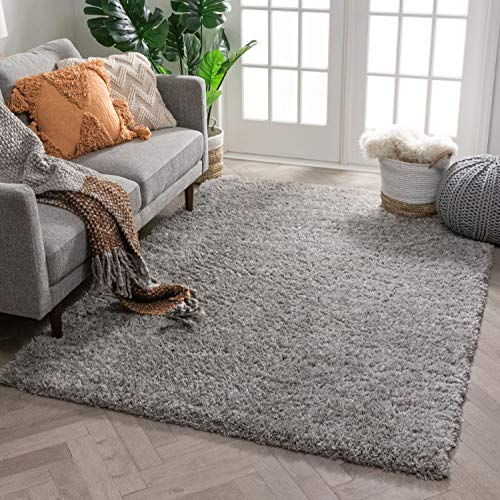Well Woven Super Soft Faux Fur Shag 5x7 (5'3' x 7'3') Area Rug Shag Silver Grey Plush Microfiber Thick Plush Pile