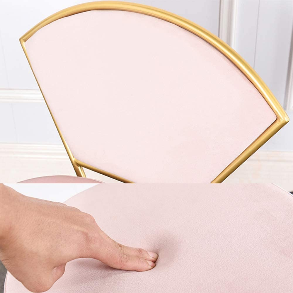 Chaise De Maquillage Dossier, Créatif en Forme De Fan Fer Forgé Chaise À Manger avec Golden Leg pour Chambre Salon Chambre Restaurant,Rose Pink