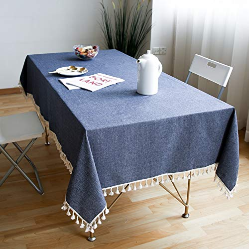 HTUO Tablecloth Christmas Decoration Home Furnishing Tassel Solid Color Washable Table Cover Cotton Linen Cover Fabric Dark Blue Hotel Home Restaurant Tablecloth Kitchen Dinning 140 * 220cm