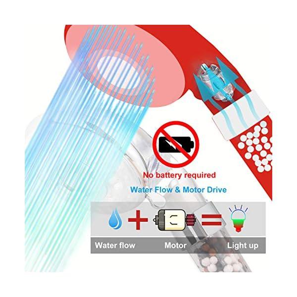 Diyife Alcachofa para Ducha,Cabezal de Ducha LED 3 Colores Cambiantes Temperatura Controlada Alta Presión Rociador…