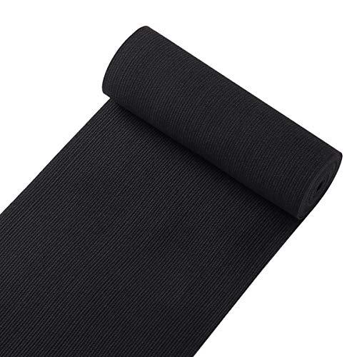 Knit Elastic Bands for Sewing Black Heavy Stretch High Elasticity Flat Elastic Cord 6 Inch Wide Braided Elastic Spool 2 Yard