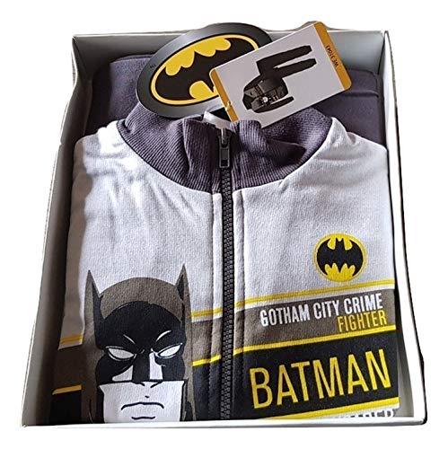 Batman - Chándal infantil con apertura de cremallera, sudadera de algodón, color gris, tallas 4-5-6-7 años