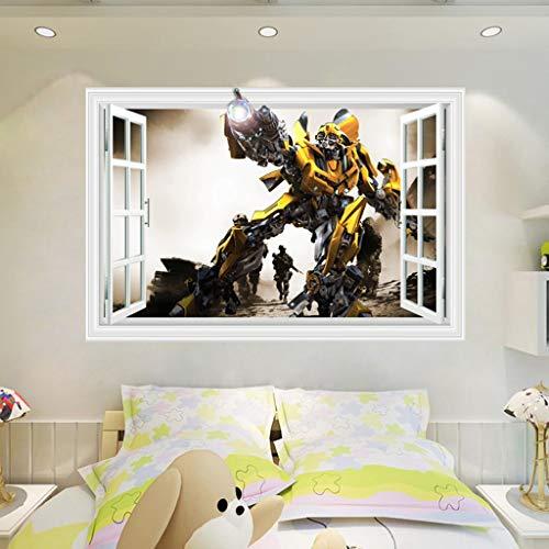 Wandsticker Wandtattoo 3D Wandaufkleber Aufkleber Bumblebee Transformers Roboter Optimus Prime Bumblebee Anime Tapeten Tapeten dekoratives selbstklebendes Kind-Raum-Wand-Dekor 60x40cm ( Color : F )