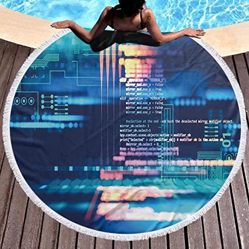 Telo Mare Rotondo Antisabbia Coperta da Spiaggia Assorbente Ultraleggeri ad Asciugatura Rapida per Lo Sport,Palestra,Sviluppatore di software per Backgroun di codice di programma del bambino 59''