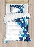 shirlyhome Juego de sábanas de edredón Moderno con patrón Ondulado de Arco Iris, con Fondo en Blanco, Azul, Morado, Naranja, poliéster, 2 Piezas, poliéster, Color06, Matrimonio