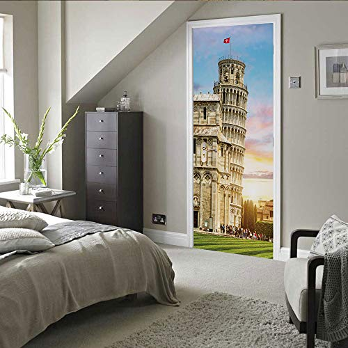 3D-Türaufkleber Schiefer Turm von Pisa Abnehmbare Türaufkleber 77 x 200 cm (30,3 'x 78,7')
