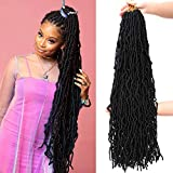 Yorda 32Inch 6Packs Soft Locs Crochet Hair for Butterfly Style, Crochet Braids Pre Looped Synthetic Distressed Locs Braiding Hair (32Inch, 6Packs, #1B)