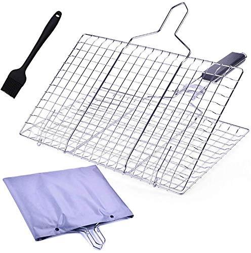 Bisgear Grillkorb aus rostfreiem für Grill - zusammenklappbar tragbar Edelstahl Fisch-Grillkorb höhenverstellbares Grillnetz mit Backbürste und Aufbewahrungstasche