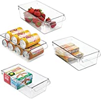 mDesign Set of 4 Storage Tray – Large Box with Handle – Ideal as a Kitchen Tray in the Kitchen Cupboards or as Fridge...