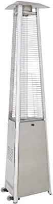 Hiland HLDS01-WCGTSS HLDS01-CGTSS Commerci al Pyramid Glass Tube Propane Patio Heater w/Wheels, Stainless Steel