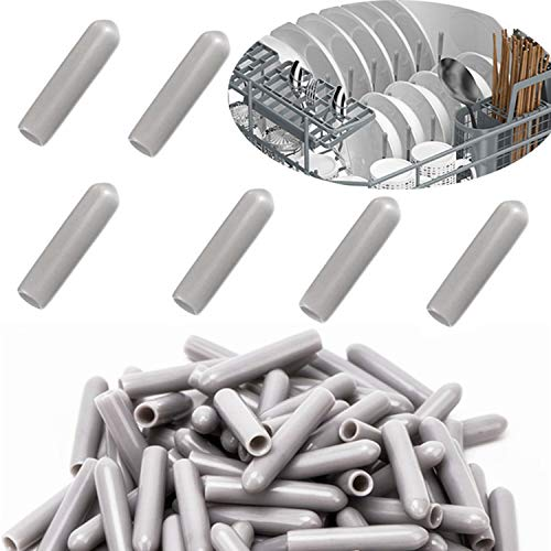 Zaky Spülmaschinen-Gestell-Abdeckkappen 100 Stück Rost- und kratzfest Universal-Schutzkappen für Spülmaschinen-Körbe (grau)