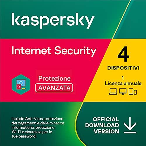Kaspersky Internet Security 2021   4 Dispositivi   1 Anno   PC / Mac / Android   Codice d'attivazione via email