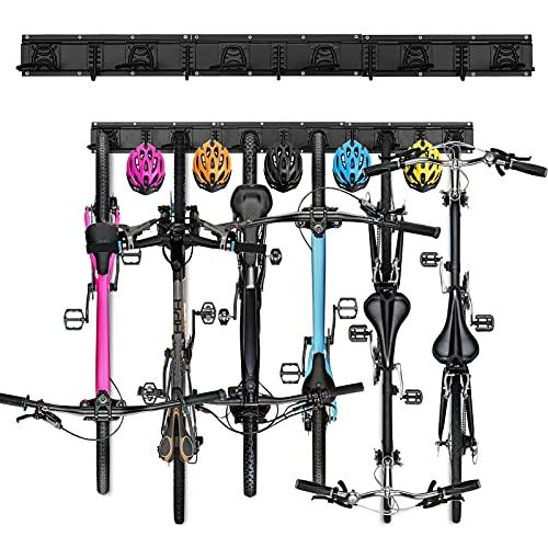 Soporte de pared para 6 bicicletas, sistema de almacenamiento ajustable para casa y garaje, soporte para bicicletas de carretera, de montaña