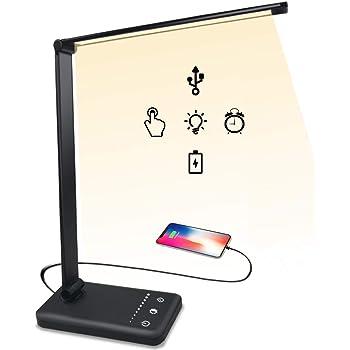 デスクライト LED 電気スタンド 目に優しい 卓上ライト スマホ充電 タッチセンサー 10段階調光 5段階調色 多角度調整 タイマー メモリー機能 テーブルスタンド 読書 勉強 仕事 ビジネス系 スタンドライト USBポート付け 折り畳み式 おしゃれ (ブラック)