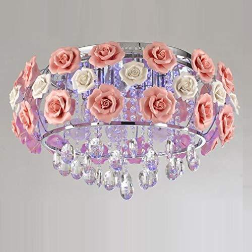 Modern Kristall Deckenleuchte, Deckenlampe, Schlafzimmer lampe Romantische Keramik Rose Blume Decken-Leuchte Chrom Eisen-Lampenkörper GlasSchatten für Wohnzimmer Deckenbeleuchtung E14*5 D50*H38CM