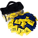 Alphabet Bean Bags - Colored Baggies with Carrying Bag - Educational Toy for English, Language Arts, Sports, and Play - for Children, Boys, Girls - Blue & Yellow with Upper & Lower Case Letters