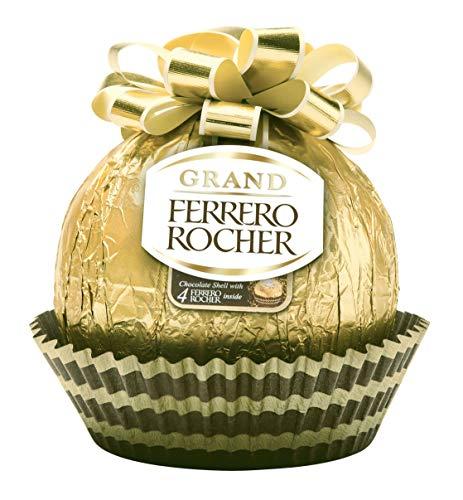 Grand Ferrero Rocher Hollow Hazelnut Milk Chocolate Christmas Gift, 4 Individually Wrapped Ferrero Rocher Inside, 240 grams