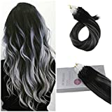 【Valentine's Day Off】Moresoo 20 Inch Balayage Micro Loop Hair Extensions Remy Straight Human Hair Color #1B Black to Silver Highlight #1B Micro Rings Beads Hair Extensions 1g/s 50g/50s