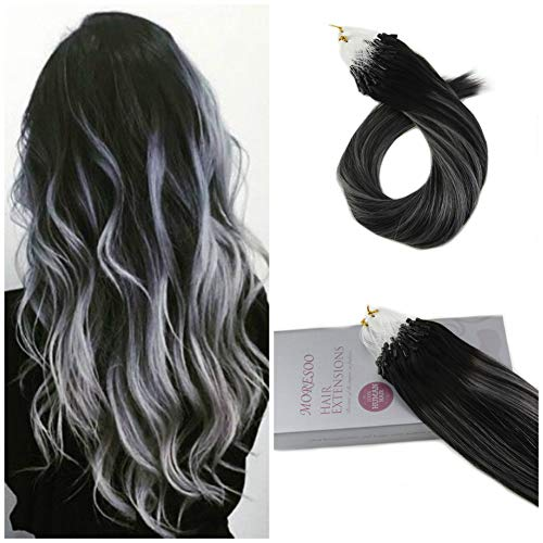 Moresoo Micro Loop Fusion Hair in Black to Silver Highlight
