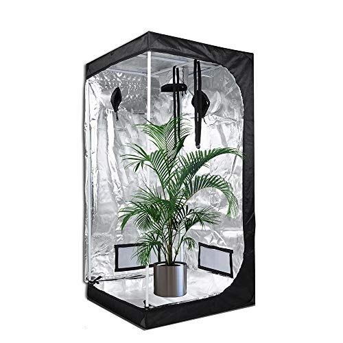 HWHSZ Grow Tent, Reflective Mylar Hydroponic Grow Tent,Greenhouse Planting Tent with Removable Waterproof Floor Tray for Indoor Plant Growing, with Defensive Glasses and Nylon Lanyard,60x60x140cm