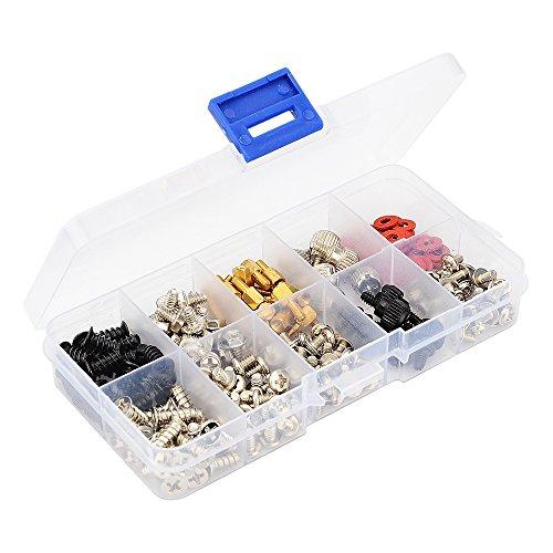 228 piezas kits de tornillos para computadora de PC para placa base, unidad óptica, chasis de ventilador, disco duro, en un estuche de almacenamiento