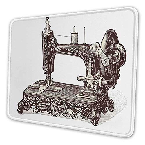 Rechthoekige Mousemat Mousepad, Vintage Naaimachine Handgetekende Schets Antieke Nostalgische Object Print