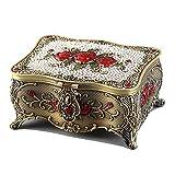 QULONG Exhibición de joyería Estuche de exhibición Caja de joyería Vintage Boutique Retro Metal Rose Set Auger Restauración de Formas Antiguas con Caja de Espejo Cómoda Decoración Organizador de al