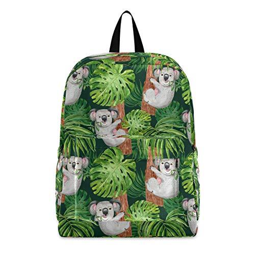 PUXUQU - Zaino per la scuola dei bambini, con motivo a forma di koala, orso, palma, foglie, per bambini, ragazzi e ragazze
