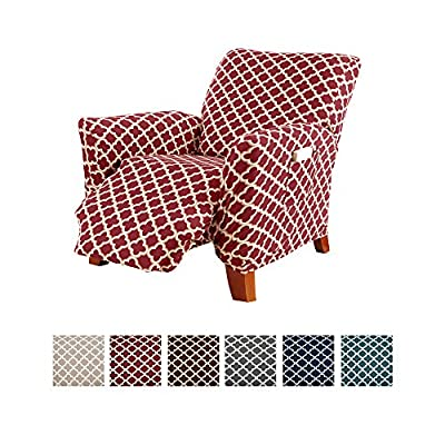 Home Fashion Designs Printed Twill Recliner Slipcover. One Piece Stretch Couch Cover. Strapless Recliner Cover for Living Room. Brenna Collection Slipcover. (Recliner)