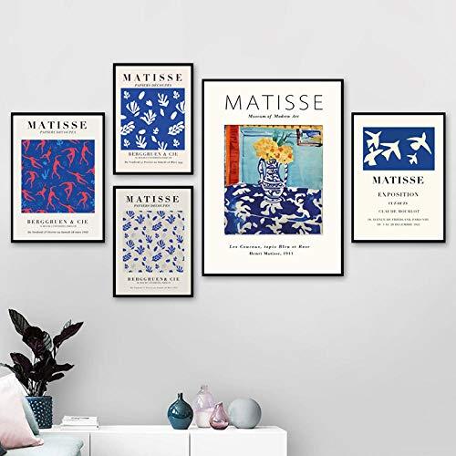 Henri Matisse ExposicióN Poster Azul Museo GaleríA Pared Arte Cuadro Matisse Lienzo Pintura Matisse Poster para Salon De Estar Hogar Decoracion No Marco