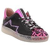 Mjus | Sneaker | Schnürschuh | Leo - schwarz | pink, Farbe:schwarz, Größe:39