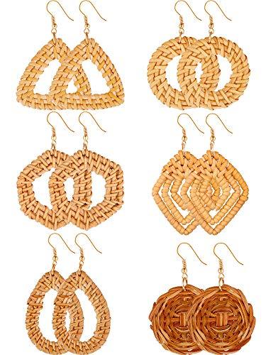 6 Paar Gewebte Rattan Ohrringe Geometrische Stroh Ohrringe Böhmischen Rattan Creolen Sets für Damen Mädchen Lieferungen, Braun (Stil Satz 1)