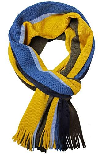 Écharpe en tricot Écharpe pour hommes Chaud et doux rouge Fox® Unisexe en laine à rayures multicolore (brun jaune bleu)