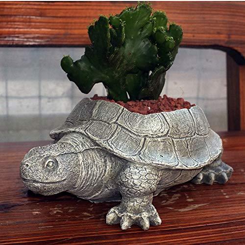 XHZJ Tortue à Modeler Les Plantes Grasses et Autres Pots à Fleurs Verts, Pots à Fleurs charnues à la Tortue en Ciment de Style campagnard, décoration Artisanale