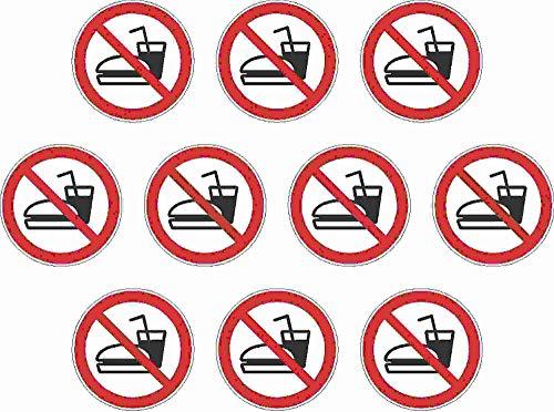 Kleberio® 10 Selbstklebende PVC Aufkleber 100 mm 10 cm - Essen und Trinken verboten - für Innen & Außen geeignet Piktogramm Hinweis Aufkleber