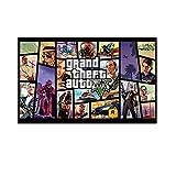 SDGW Grand Theft Auto V Game Poster GTA 5 Lienzo Artístico Impreso Pintura Cuadros De Pared para Habitación Decoración del Hogar Decoración De Pared-50X100Cm Sin Marco