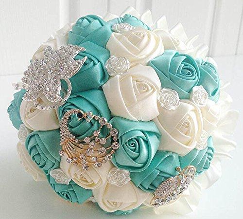 vendre en européens et américains de mariage faite main Bouquet de mariage mariée Demoiselle d'honneur haute qualité Diamant Bouquet de roses (Bleu vert)