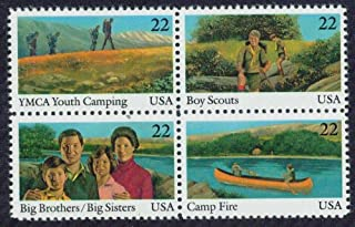 BOY SCOUTS, CAMP FIRE GIRLS, YMCA CAMPING, BIG BROTHERS, BIG SISTERS ~ INTERNATIONAL YOUTH YEAR #2163a Block of 4 x 22¢ US Postage Stamps