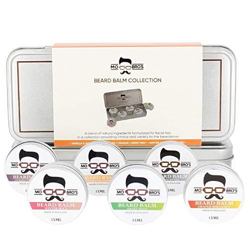 Mo Bro's Coffret Cadeau de Baume à Barbe - 15ml (6 Parfums) Hydrater et Nourrir la Peau et la Barbe | Discipline la Barbe | Cadeau pour Homme | Kit Barbe | Soin de Barbe