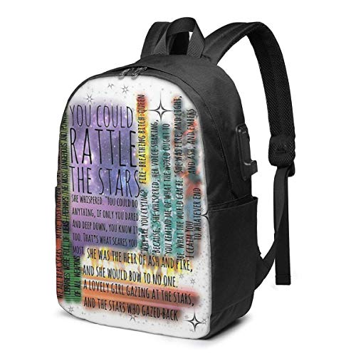 Throne of Glass Quotes USB School Backpack Large Capacity Canvas Satchel Casual Travel Daypack for Adult Teen Women Men 17in