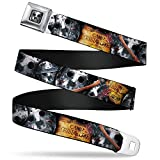 Buckle-Down Seatbelt Belt - FRIDAY THE 13th/WELCOME TO CAMP CRYSTAL LAKE/Jason Mask3 Stacked/Axe - 1.0' Wide - 20-36 Inches in Length