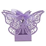 Omabeta Cajas de azúcar Candy Box para Boda(Light Purple)