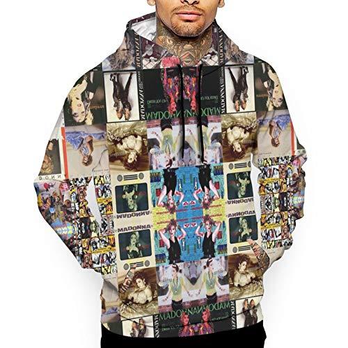 Madonna Collage Herren Mode Print Sweatshirts Pullover Hoodie Top Kapuzenshirts Gr. Large, weiß